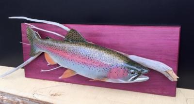 Kenai river rainbow trout wood fish carving