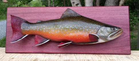 "24"" Labrador brook trout wood fish carving"