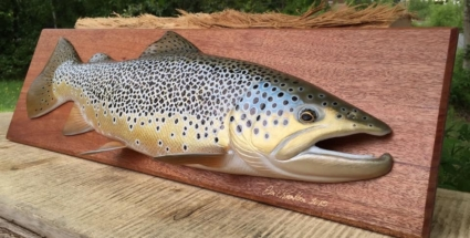 Brown trout wood fish carving trophy