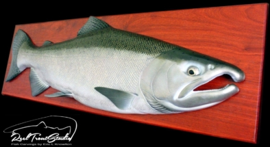 Coho silver salmon wood fish carving