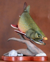 Brook trout wood fish carving