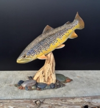 Brown trout wood fish carving