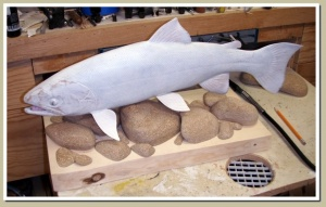 rainbow trout wood fish carving willow ck alaska kass 1