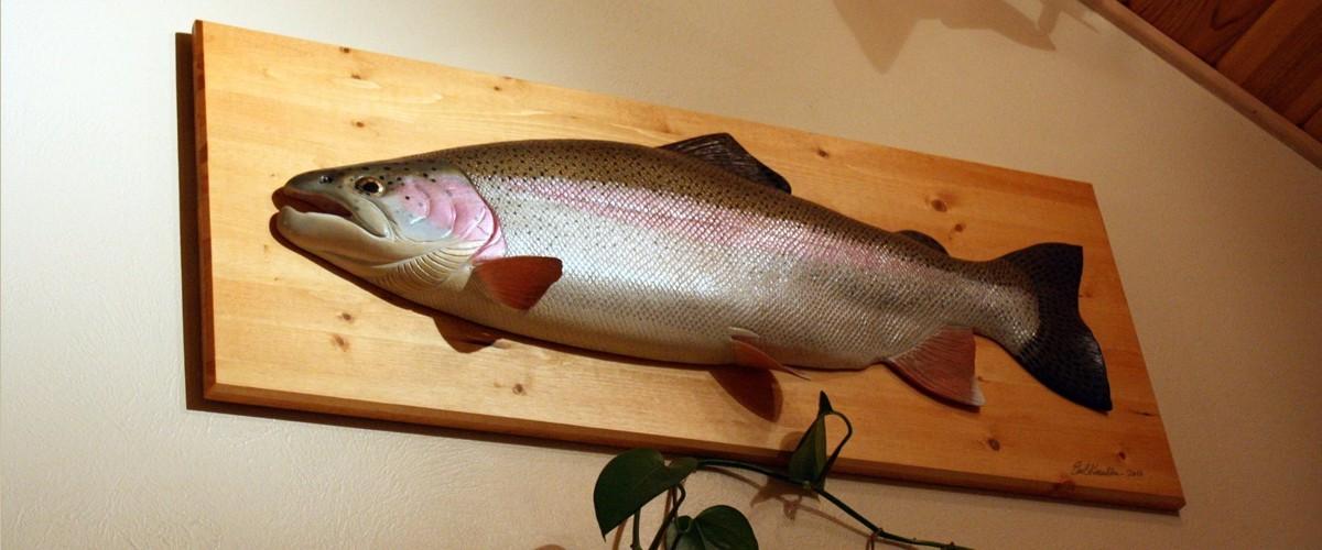 Wood fish carvings reel trout studio